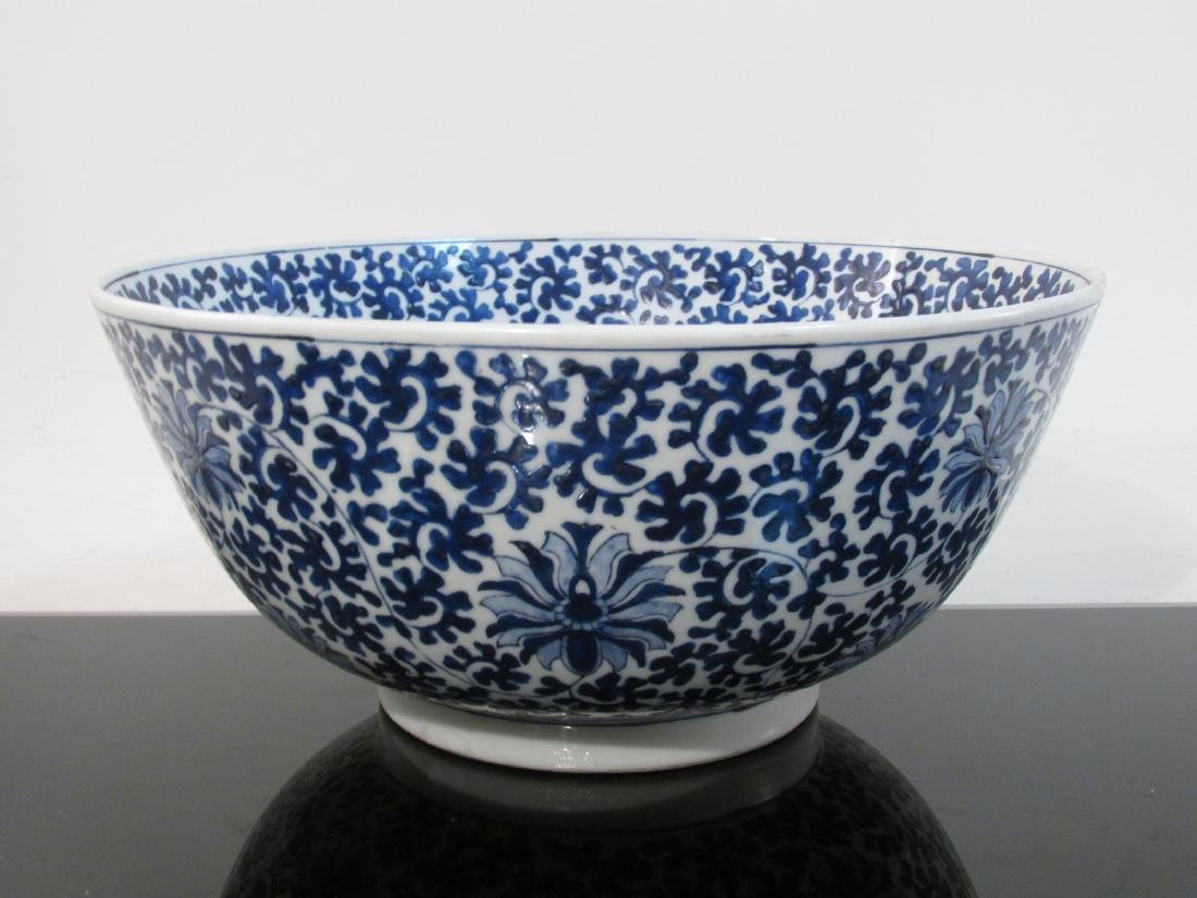 LARGE CHINESE BLUE & WHITE PORCELAIN FOOTED BOWL