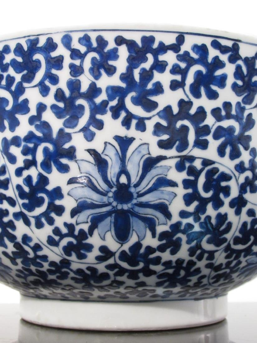 LARGE CHINESE BLUE & WHITE PORCELAIN FOOTED BOWL - 2