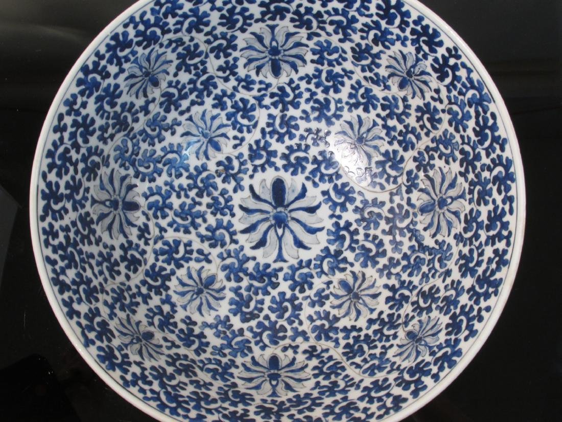 LARGE CHINESE BLUE & WHITE PORCELAIN FOOTED BOWL - 3