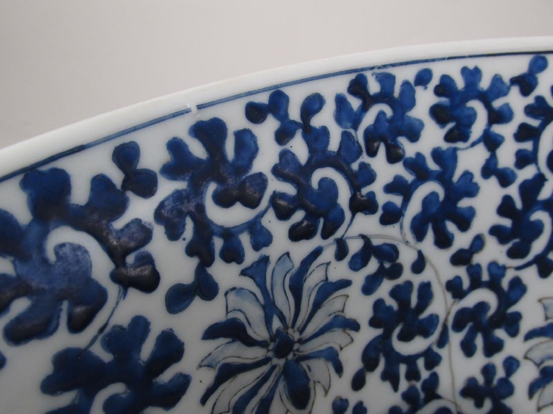 LARGE CHINESE BLUE & WHITE PORCELAIN FOOTED BOWL - 5
