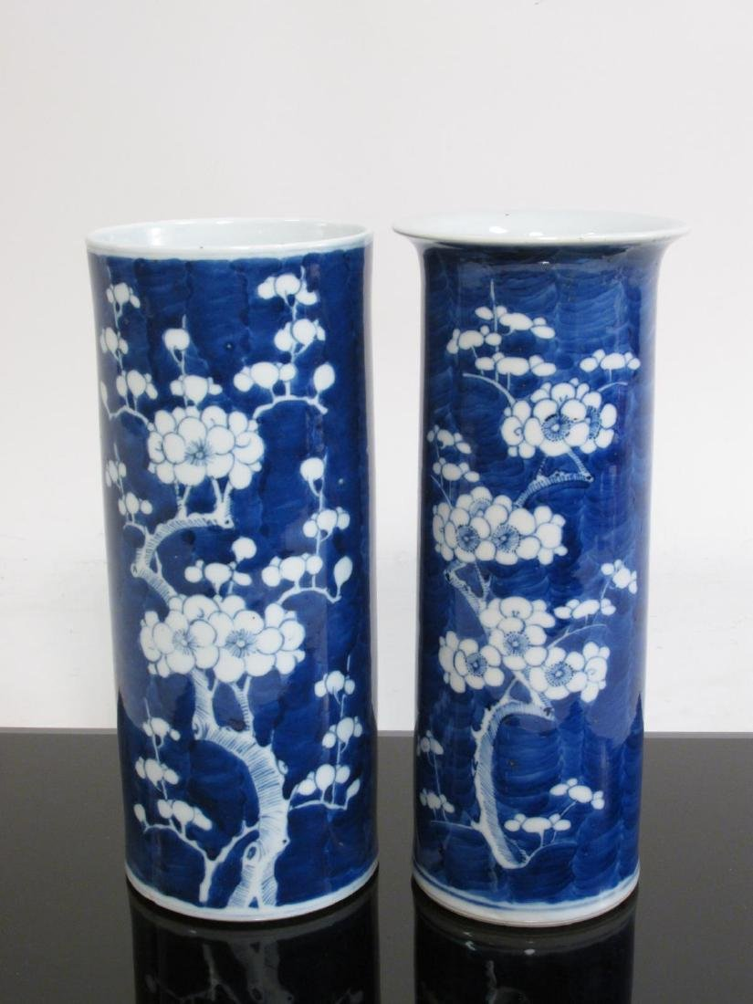 TWO CHINESE QING DYNASTY PORCELAIN PRUNUS VASES