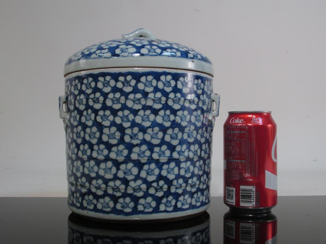 CHINESE MID QING DYNASTY BLUE & WHITE CYLINDER JAR - 10