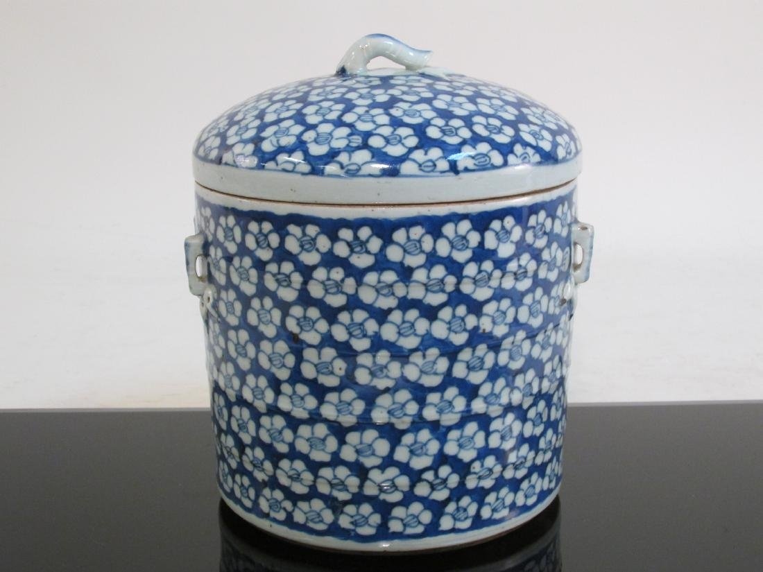 CHINESE MID QING DYNASTY BLUE & WHITE CYLINDER JAR