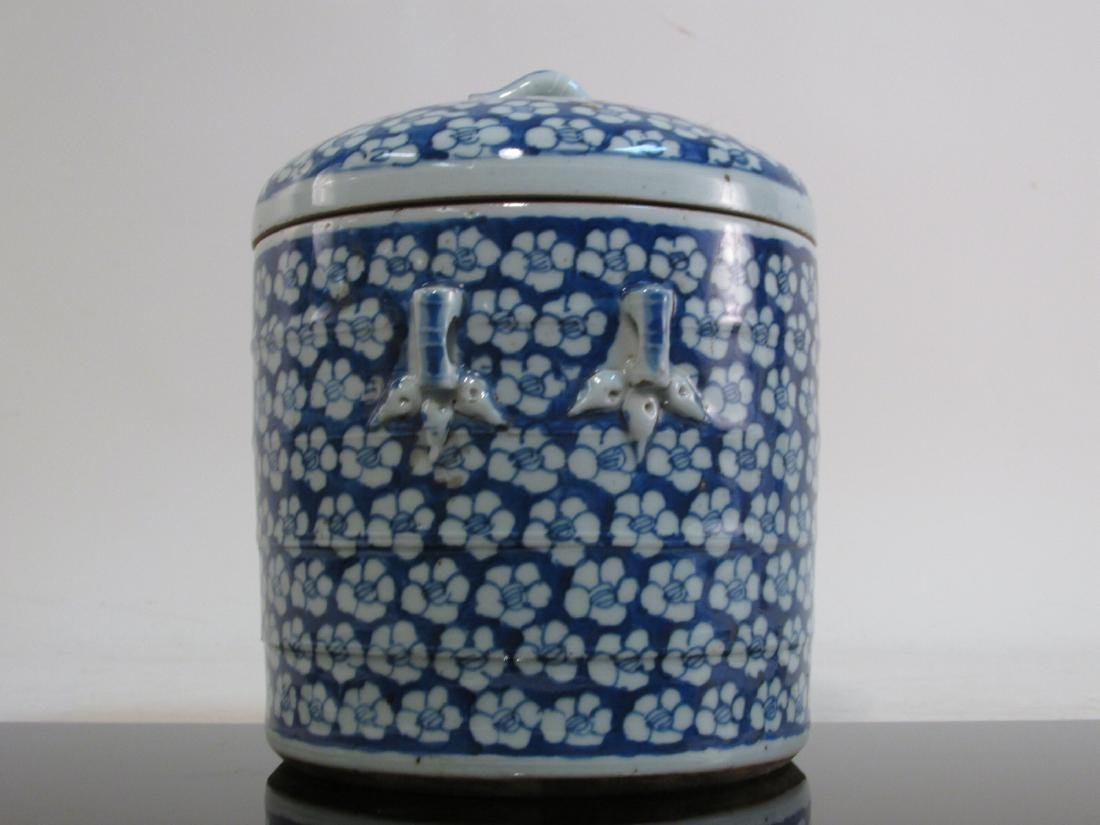 CHINESE MID QING DYNASTY BLUE & WHITE CYLINDER JAR - 6