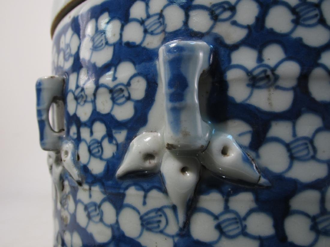 CHINESE MID QING DYNASTY BLUE & WHITE CYLINDER JAR - 7