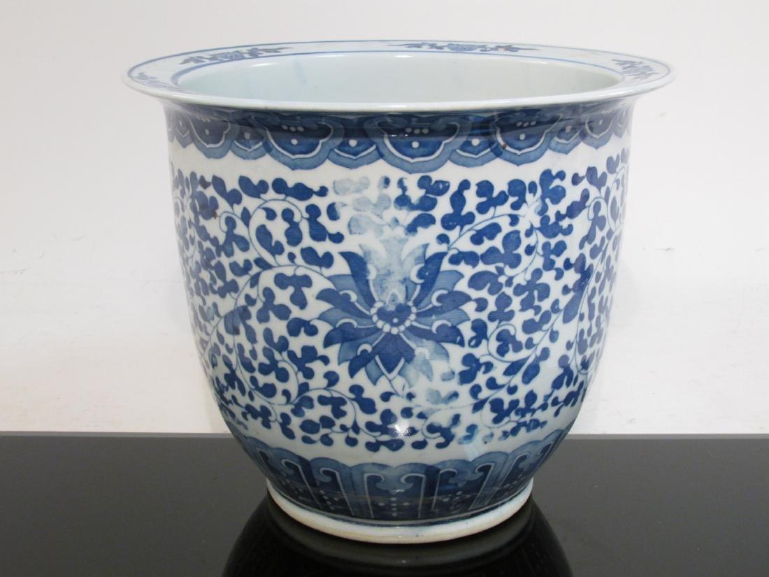 CHINESE BLUE & WHITE PORCELAIN PLANTER & LAMP - 8