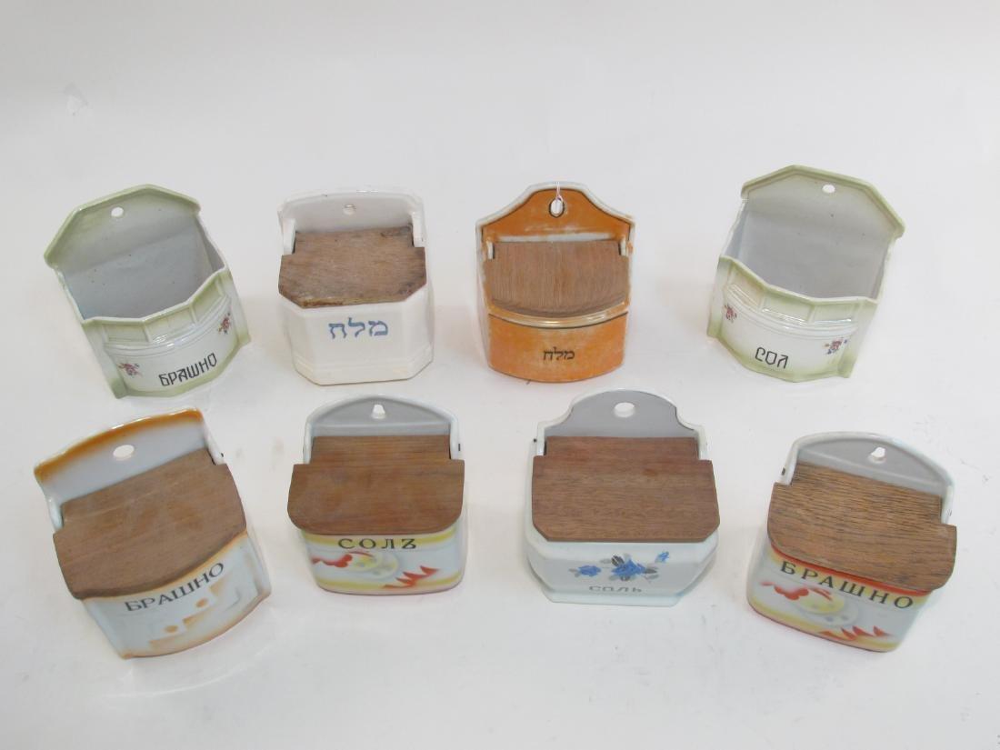 EIGHT ANTIQUE POTTERY SALT BOXES, CZECH, ETC.