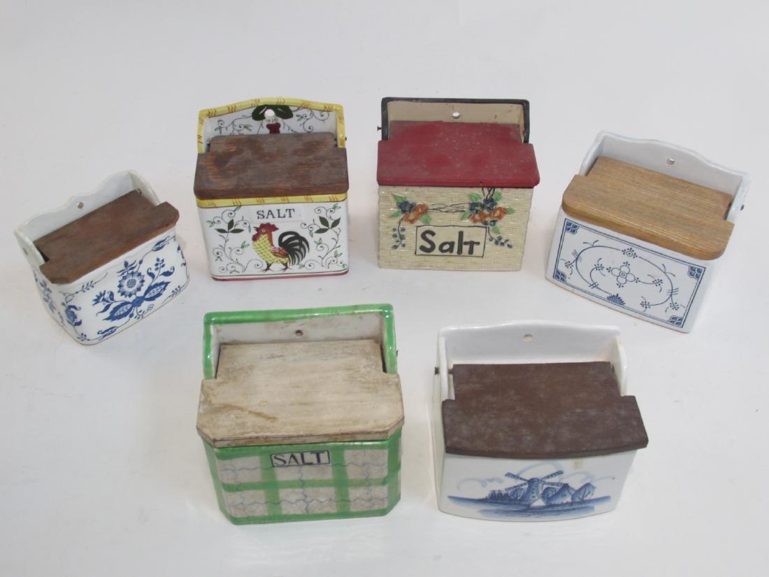 SIX VINTAGE MINIATURE POTTERY SALT BOXES