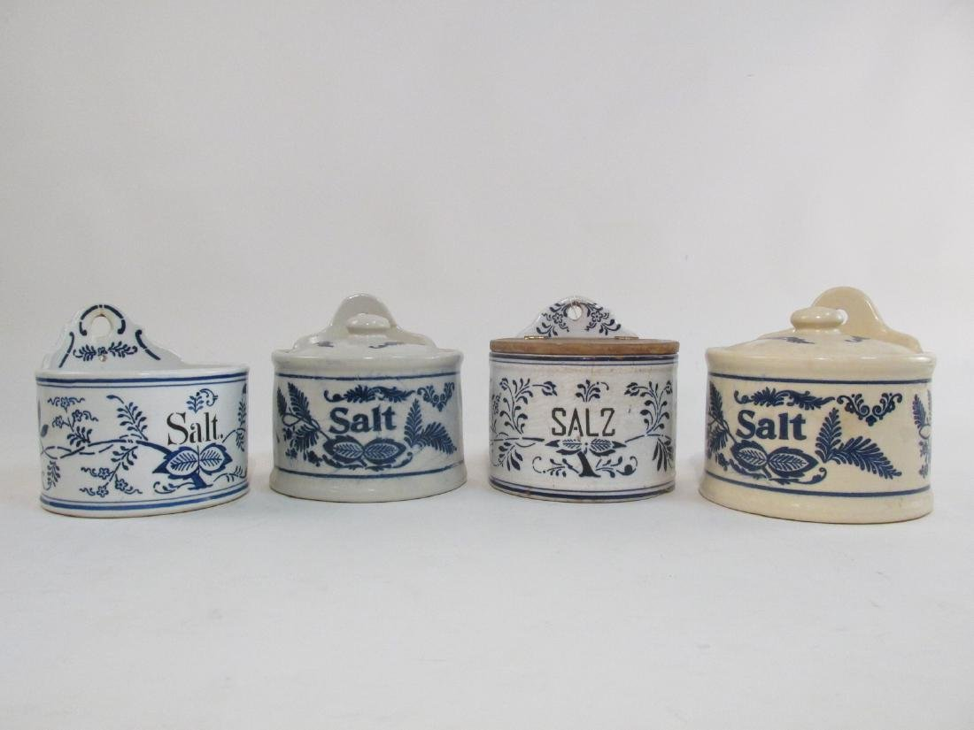 FOUR ANTIQUE BLUE & WHITE STONEWARE SALT CROCKS