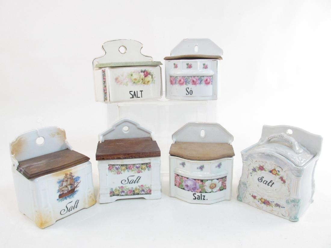 SIX VINTAGE/ANTIQUE PORCELAIN SALT BOXES