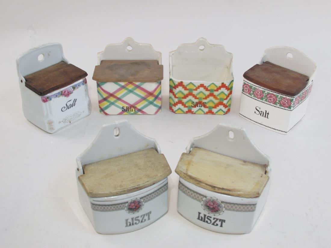 SIX ANTIQUE/VINTAGE PORCELAIN SALT BOXES