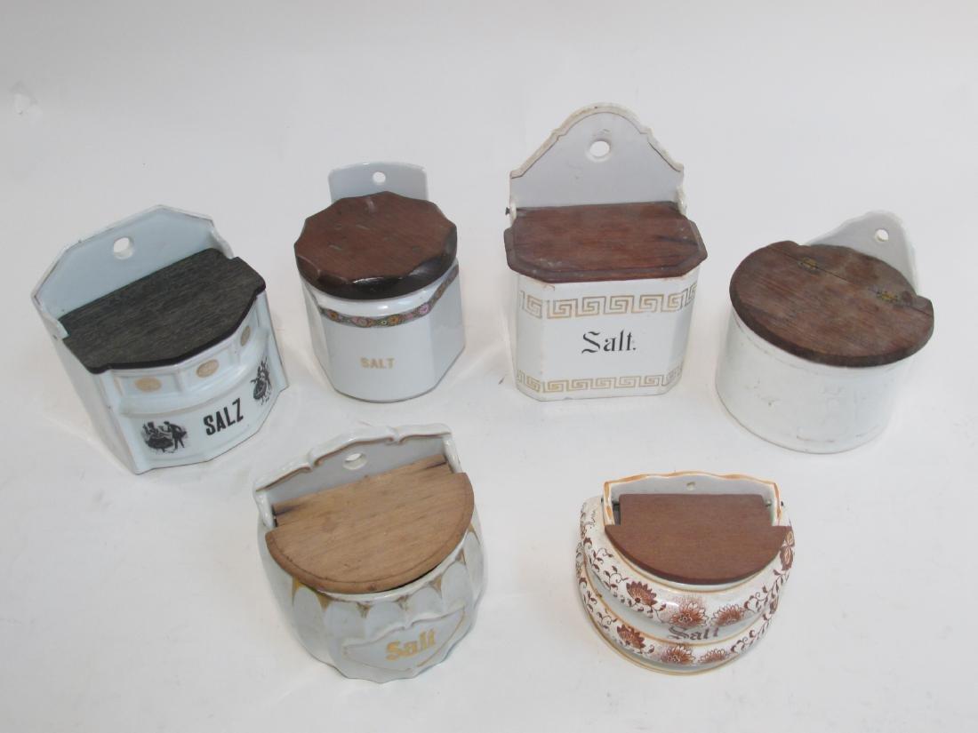 SIX ANTIQUE/VINTAGE POTTERY SALT BOXES