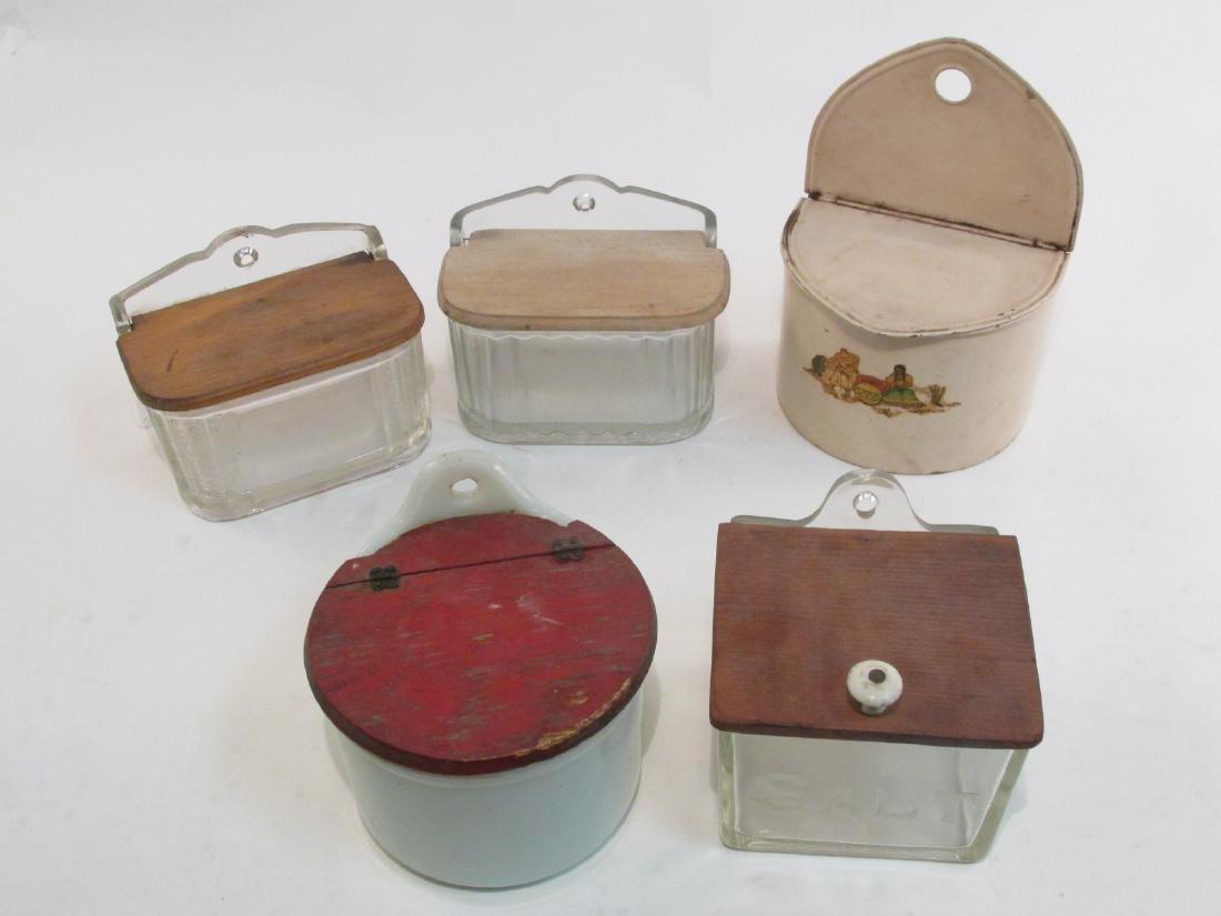 FIVE ANTIQUE GLASS & TIN SALT BOXES
