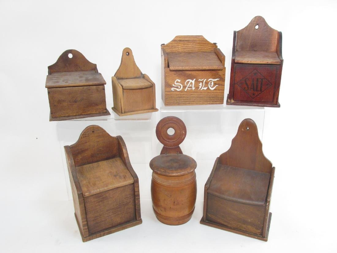 SEVEN ANTIQUE WOODEN SALT BOXES