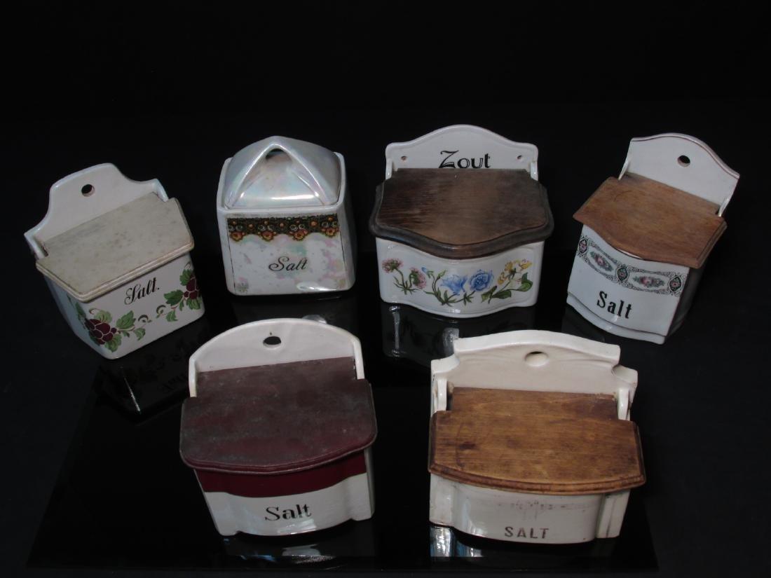 SIX VINTAGE/ANTIQUE POTTERY SALT BOXES