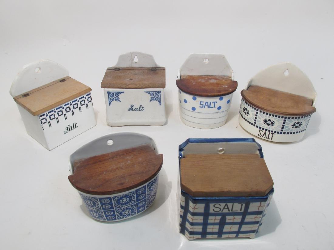 SIX VINTAGE/ANTIQUE BLUE & WHITE POTTERY SALT BOXE