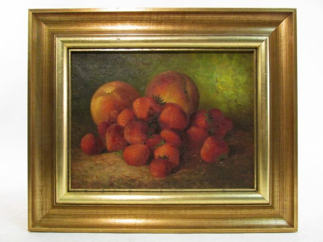 19TH C OIL ON CANVAS NATURA MORTE PAINTING FRUIT