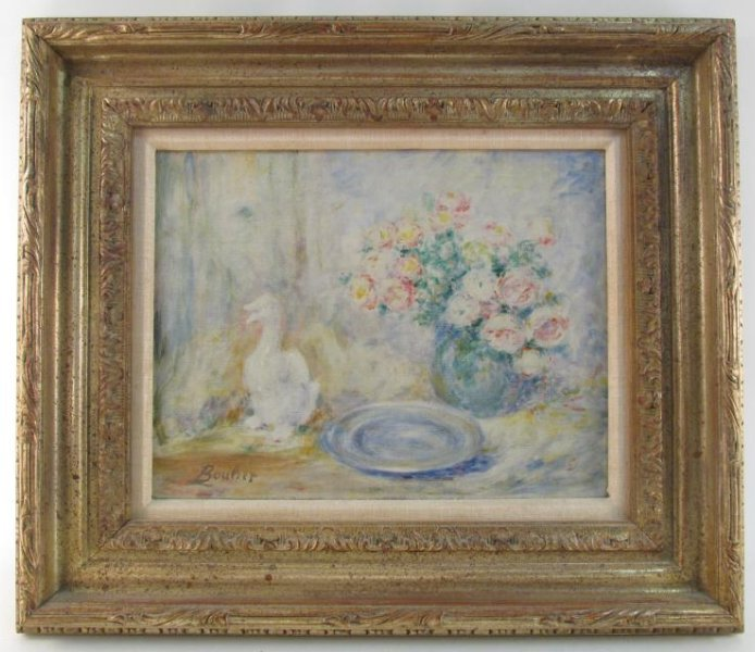 LUCIEN BOULIER OIL ON CANVAS PAINTING: STILL LIFE