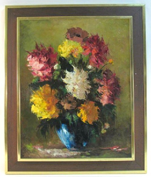 VINTAGE OIL ON BOARD FLORAL STILL LIFE PAINTING