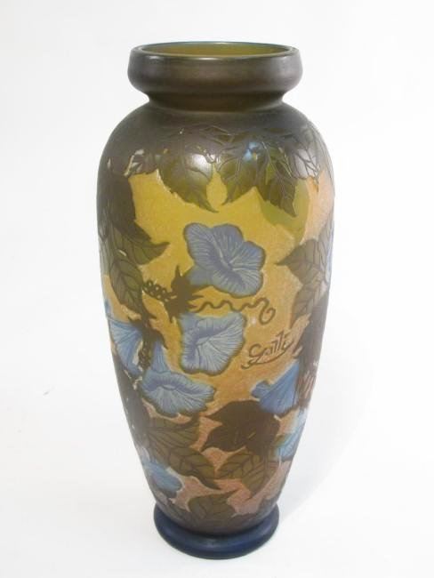 GALLE STYLE ETCHED CAMEO ART GLASS VASE