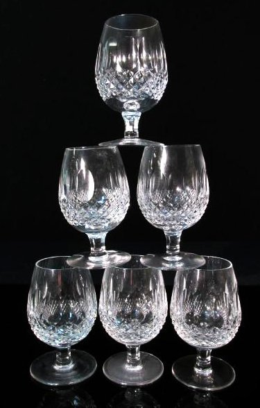 "SIX WATERFORD ""COLLEEN"" CUT CRYSTAL BRANDY GLASSES"