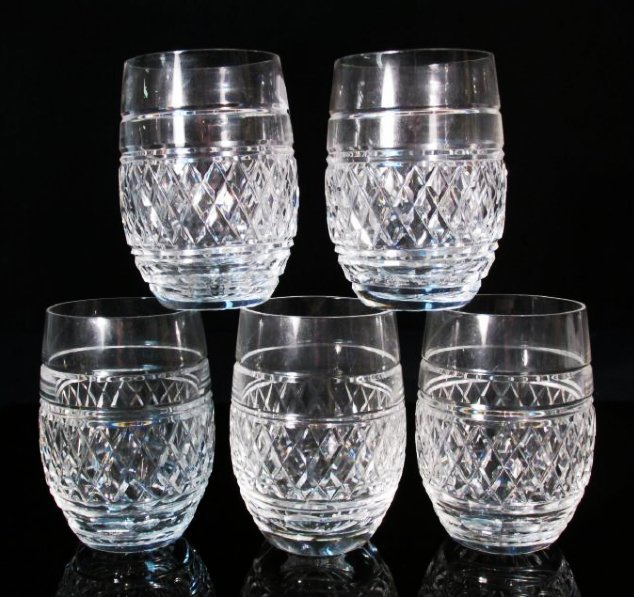 "FIVE WATERFORD ""CASTLETOWN"" CUT CRYSTAL TUMBLERS"
