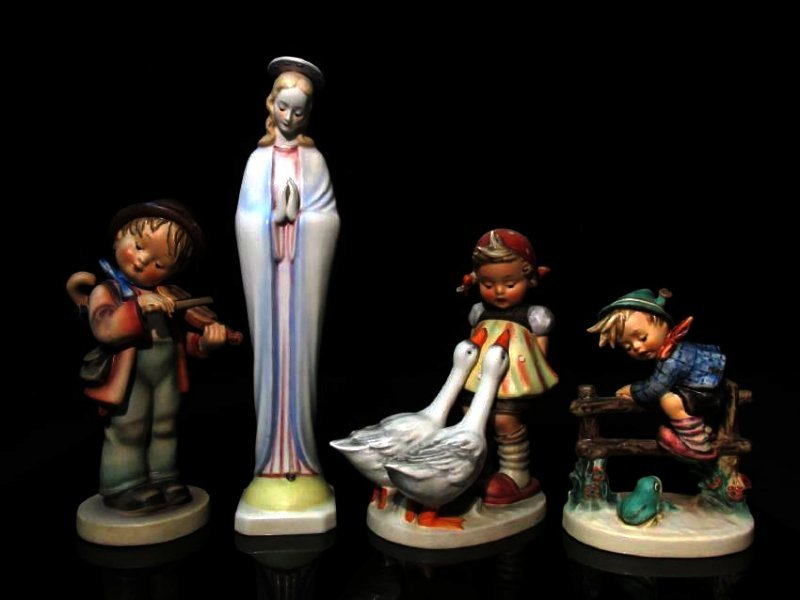 FOUR HUMMEL PORCELAIN FIGURINES: 47, 201, 2 ETC