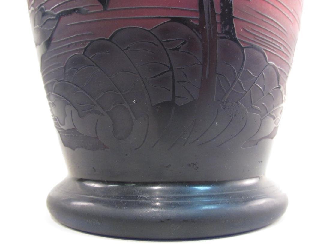 RICHARD ETCHED CAMEO ART GLASS VASE - 5