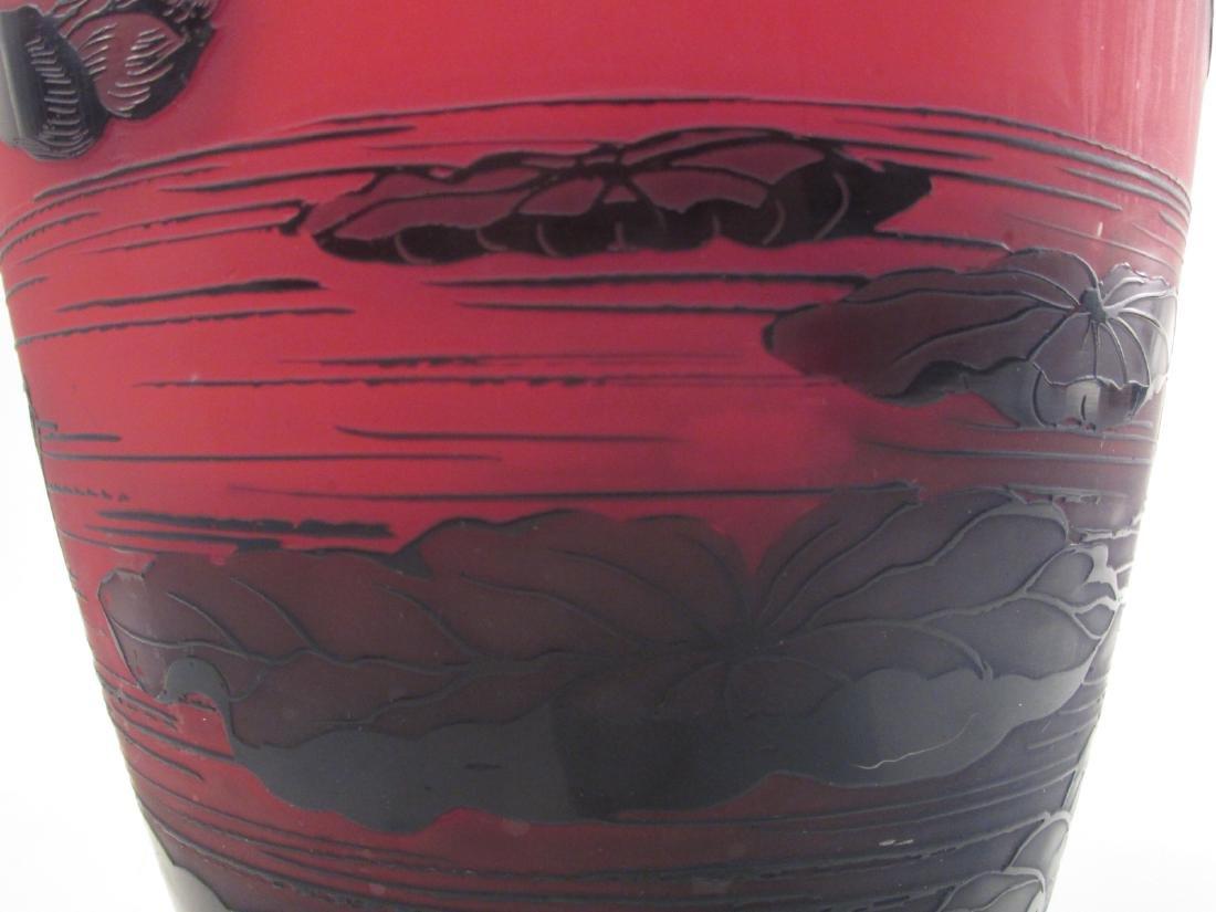 RICHARD ETCHED CAMEO ART GLASS VASE - 6