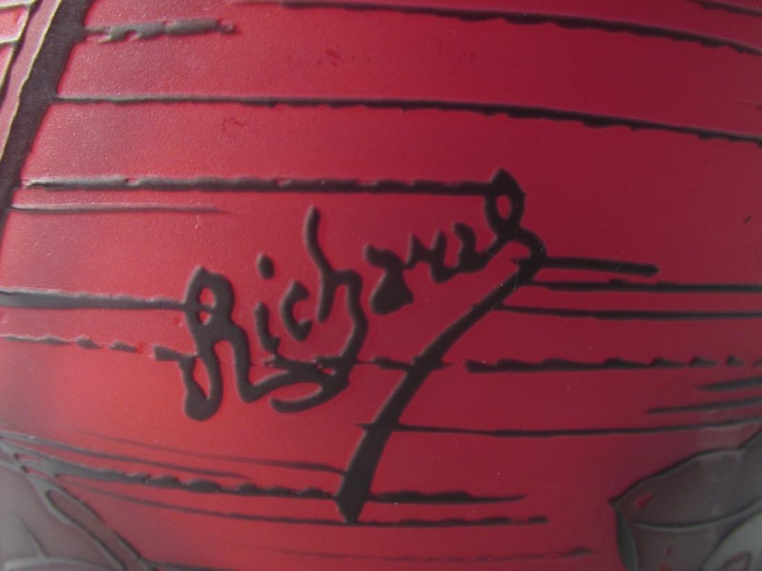 RICHARD ETCHED CAMEO ART GLASS VASE - 7
