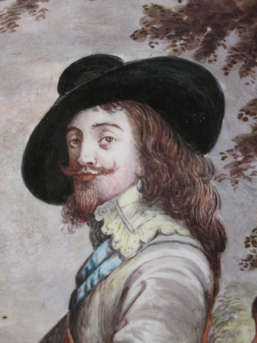 ANTIQUE ENAMEL ON COPPER PAINTING: KING CHARLES I - 3
