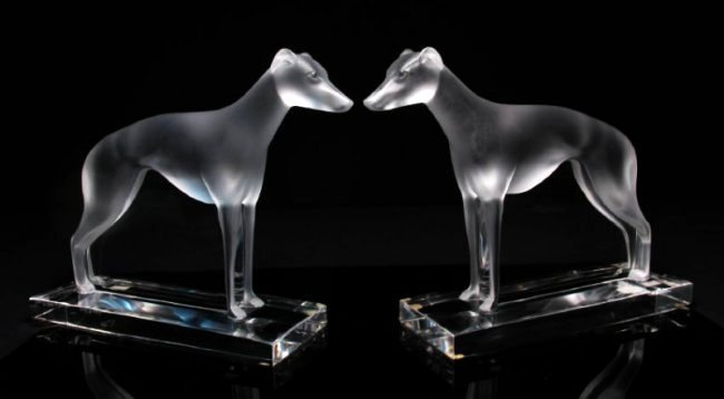 """PAIR LALIQUE """"PERCEVAL"""" FROSTED CRYSTAL GREYHOUNDS - 2"""