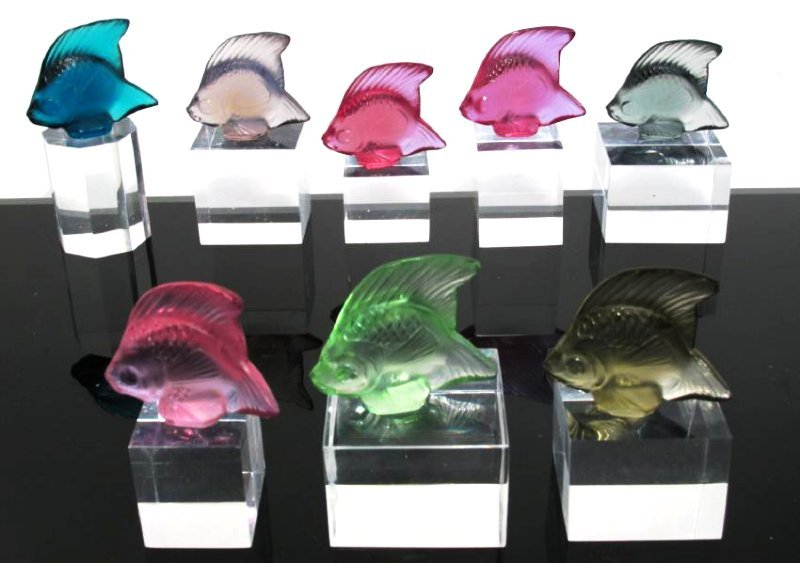 SET OF EIGHT LALIQUE COLORED CRYSTAL ANGEL FISH