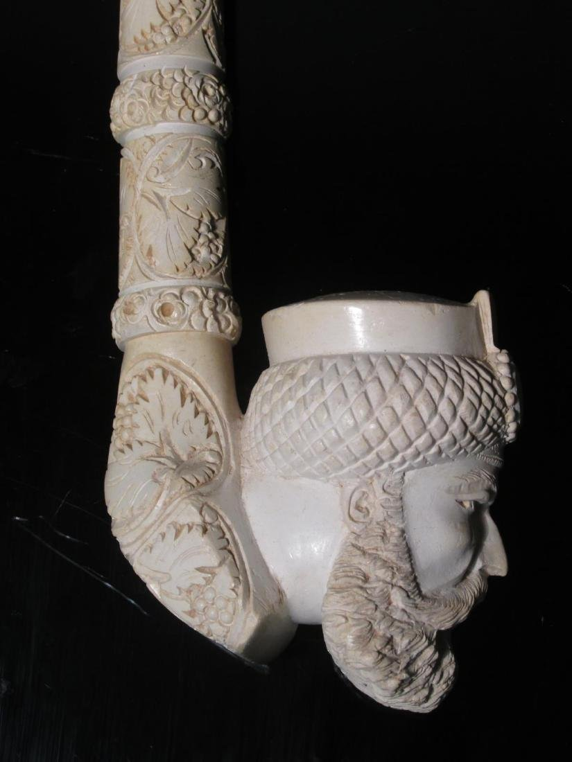 TWO LARGE CARVED MEERSCHAUM SAXOPHONE STYLE PIPES - 2