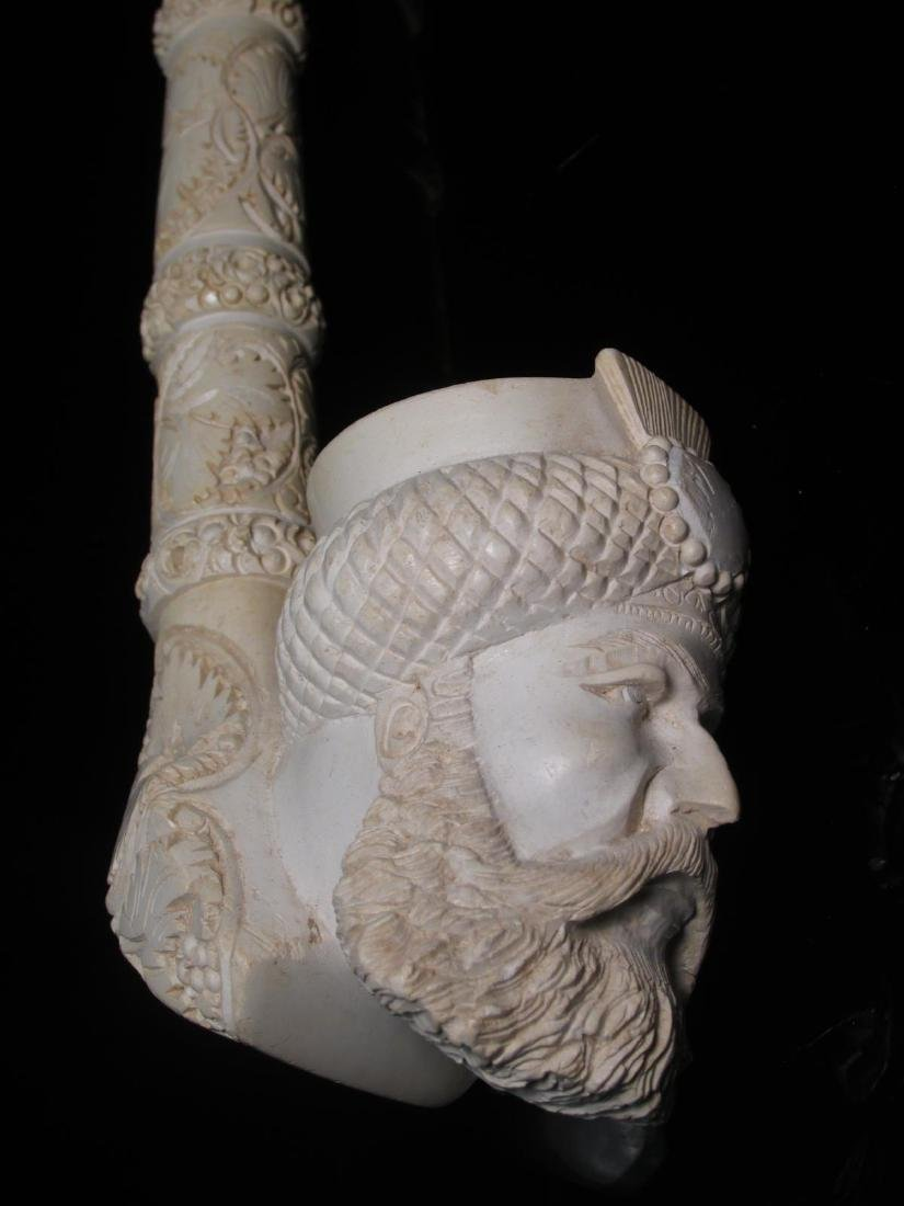 TWO LARGE CARVED MEERSCHAUM SAXOPHONE STYLE PIPES - 3