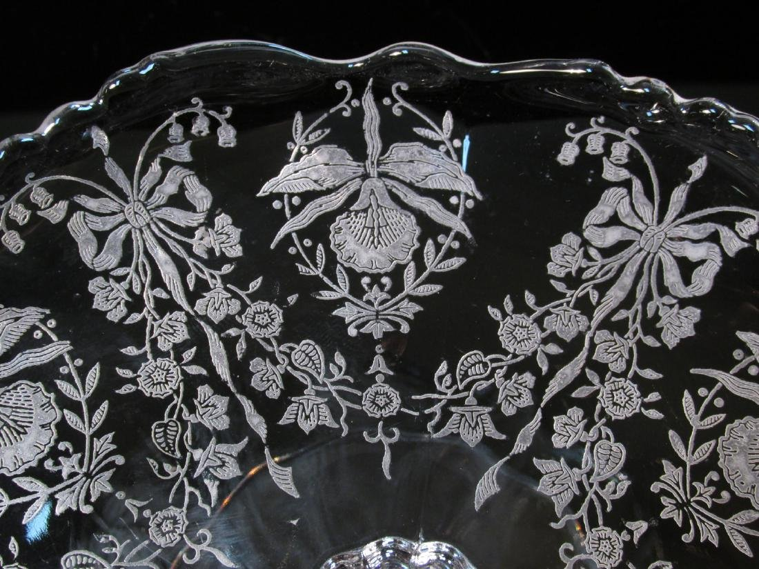 """HEISEY """"ORCHID"""" PATTERN ETCHED GLASSWARE 9 PCS - 10"""