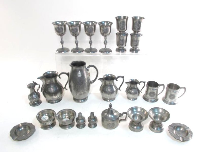 TWENTY-TWO PIECES VINTAGE PEWTER TABLEWARES