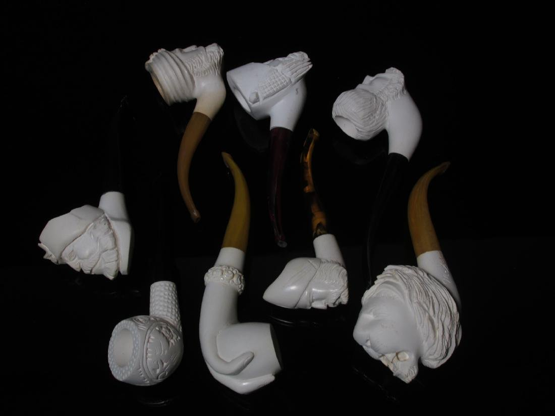 EIGHT VINTAGE CARVED MEERSCHAUM TOBACCO PIPES