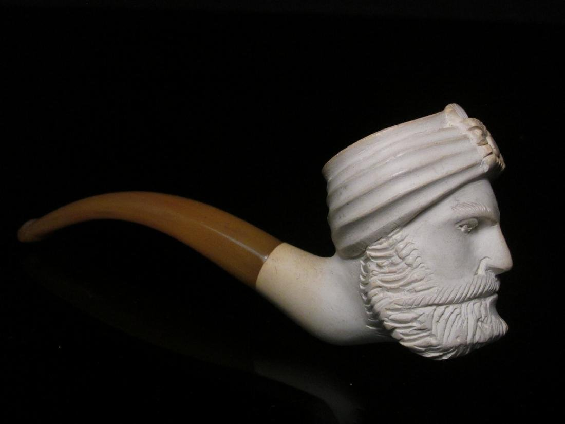 EIGHT VINTAGE CARVED MEERSCHAUM TOBACCO PIPES - 3