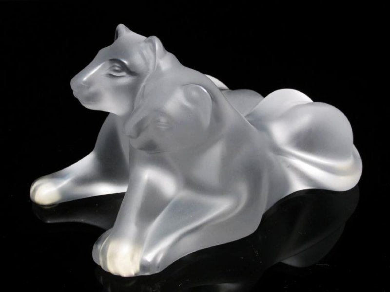 "LALIQUE FROSTED CRYSTAL ""TAMBWEE LION CUBS"" FIGURI"