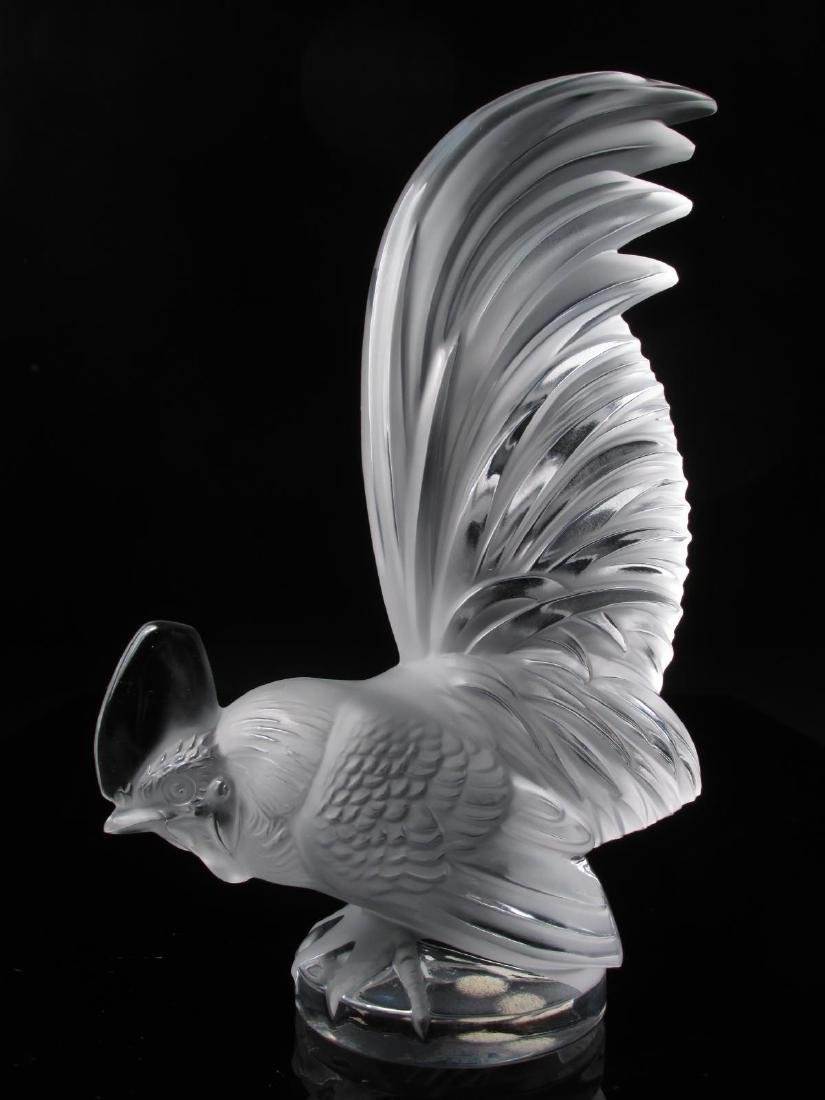 LALIQUE FROSTED CRYSTAL ROOSTER CAR MASCOT
