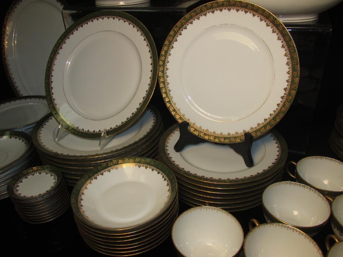 HAVILAND LIMOGES GREEN GOLD PORCELAIN DINNERWARE - 4