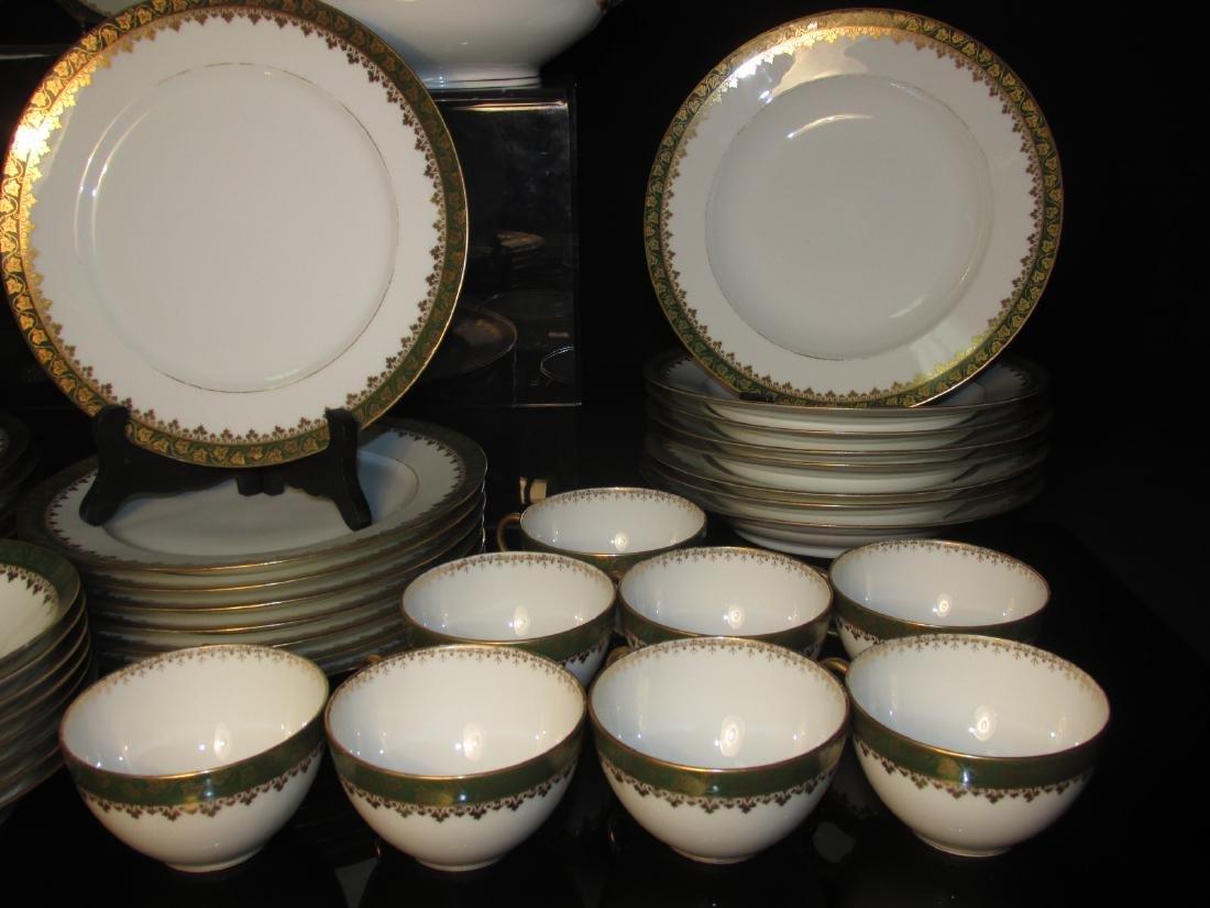 HAVILAND LIMOGES GREEN GOLD PORCELAIN DINNERWARE - 5