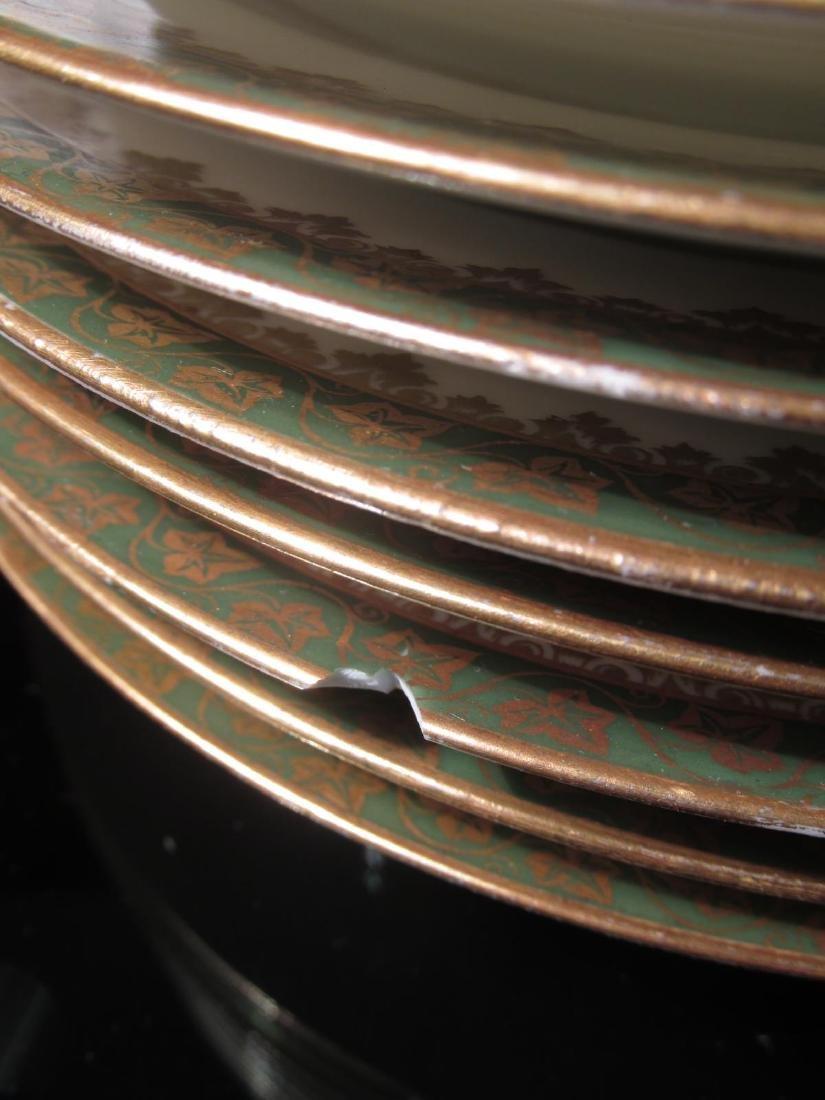 HAVILAND LIMOGES GREEN GOLD PORCELAIN DINNERWARE - 6