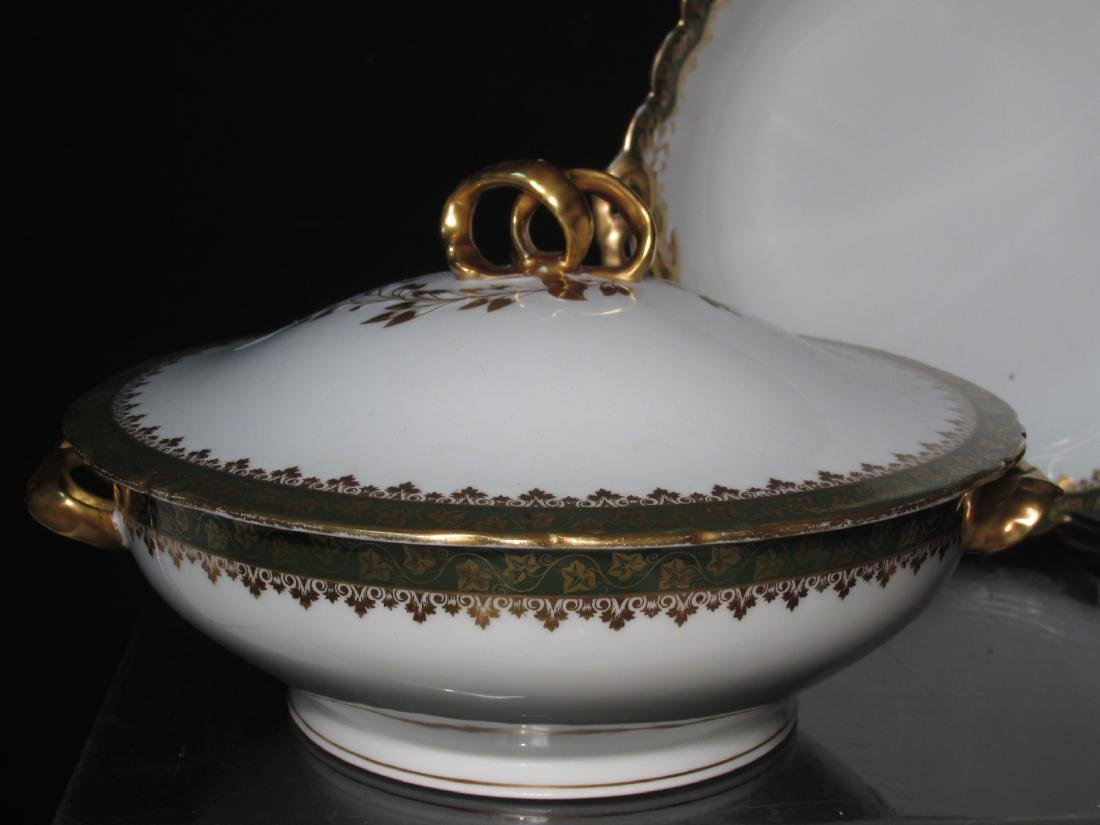 HAVILAND LIMOGES GREEN GOLD PORCELAIN DINNERWARE - 9