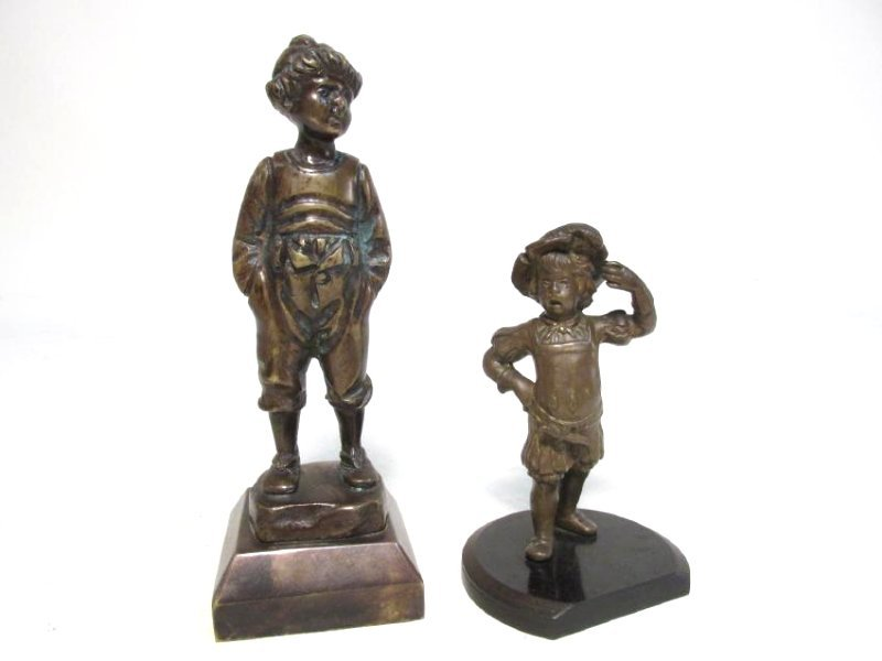 TWO 19TH C MINIATURE FIGURAL BRONZE SCULPTURES