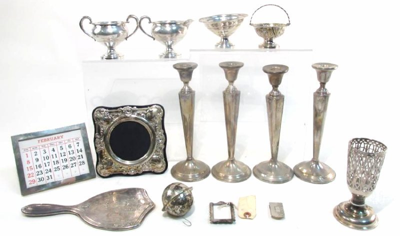 ASSORTED STERLING SILVER TABLEWARES, DESK ACC. ETC