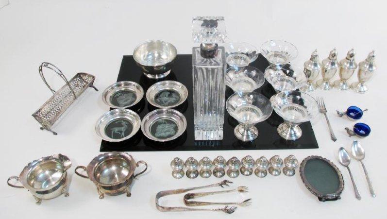 STERLING SILVER & GLASS TABLEWARES: CREAMER ETC.