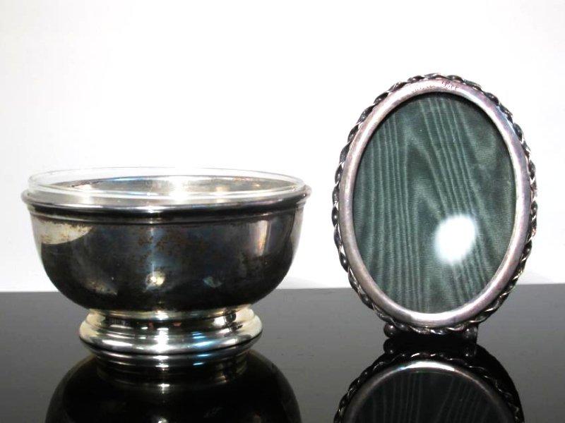 STERLING SILVER & GLASS TABLEWARES: CREAMER ETC. - 3