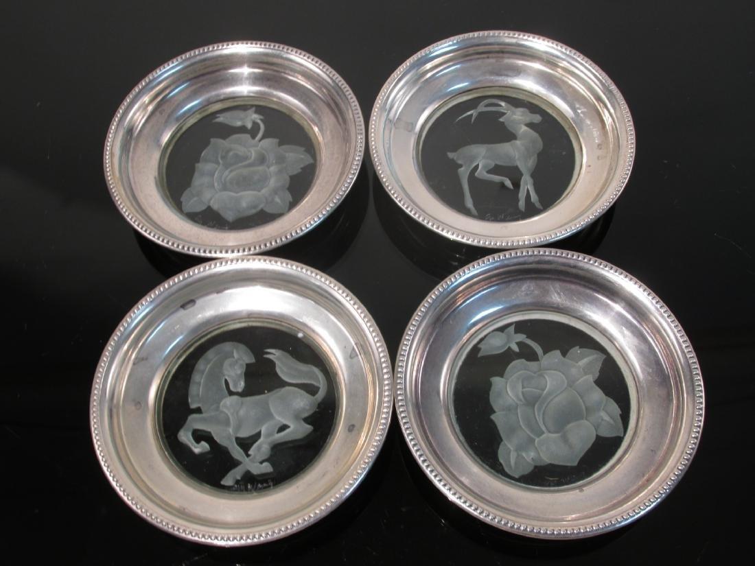 STERLING SILVER & GLASS TABLEWARES: CREAMER ETC. - 5